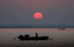 Pescatori del lago Hongze Immagine Stock Libera da Diritti