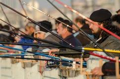Pescatori del ponte di Galata Fotografia Stock Libera da Diritti
