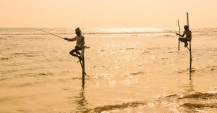Pescatori del trampolo dello Sri Lanka Immagine Stock Libera da Diritti