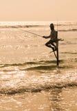 Pescatori del trampolo dello Sri Lanka Fotografia Stock Libera da Diritti