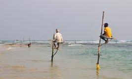 Pescatori del trampolo dello Sri Lanka Immagine Stock