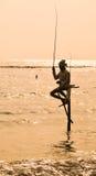 Pescatori del trampolo dello Sri Lanka Fotografie Stock