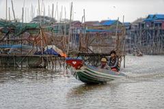 Pescatori in linfa di Tonle, Cambogia Immagini Stock Libere da Diritti