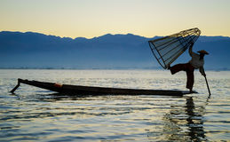 Pescatori nel lago Inle, Myanmar Fotografia Stock Libera da Diritti
