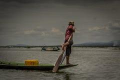 Pescatori nel lago nel Myanmar Fotografia Stock Libera da Diritti