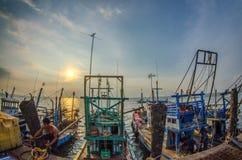Pescatori sul lavoro Immagine Stock