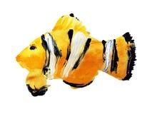 Pesce acrilico dipinto a mano del pagliaccio contro un fondo bianco illustrazione vettoriale