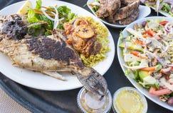 Pesce arrostito col barbecue e costole di innesco serviti con insalata Fotografia Stock Libera da Diritti