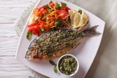 Pesce arrostito di dorado con il primo piano dell'insalata e di pesto cima di horizonta Fotografie Stock Libere da Diritti