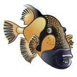 Pesce balestra nero del titano, viridescens di Balistoides illustrazione vettoriale