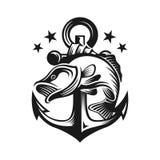 Pesce basso con il modello di logo dell'ancora Immagine Stock
