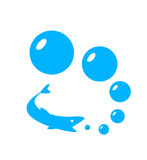 Pesce blu con le bolle Fotografie Stock Libere da Diritti