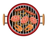Pesce bruciante e salsiccie di picnic del bbq dei carboni di vista superiore della griglia degli elementi di progettazione del ba royalty illustrazione gratis