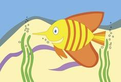 Pesce colorato a strisce nell'illustrazione del mare Immagini Stock