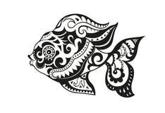Pesce con gli ornamenti nello stile etnico Immagine Stock