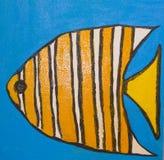 Pesce con le linee arancio, dipingenti Immagine Stock Libera da Diritti