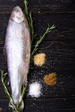 Pesce crudo con le spezie Fotografie Stock