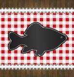 Pesce del pizzo della tovaglia del menu della lavagna Immagine Stock Libera da Diritti