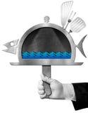 Pesce della lavagna a forma di con la mano del cuoco unico Immagine Stock