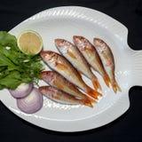 Pesce della triglia con le foglie del razzo sul piatto con fondo nero immagini stock libere da diritti