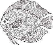 Pesce dello zentangle di scarabocchio Pagina di coloritura con l'animale per gli adulti royalty illustrazione gratis