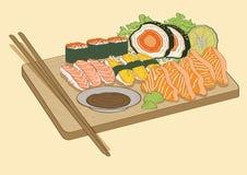 Pesce di color salmone dei sushi giapponesi dell'alimento Fotografia Stock