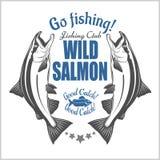 Pesce di color salmone Salmon Fishing d'annata simbolizza, etichette ed elementi di progettazione Illustrazione di vettore su bia royalty illustrazione gratis