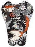 Pesce di Koi con il fiore della peonia e tatuaggio dell'onda, tatuaggio giapponese per l'ente posteriore Fotografie Stock Libere da Diritti