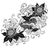Pesce di Koi e tatuaggio del crisantemo che disegna a mano Immagini Stock Libere da Diritti