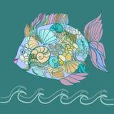 Pesce di mare dalle conchiglie illustrazione di stock