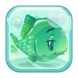 Pesce di verde del fumetto dietro il vetro royalty illustrazione gratis