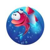 Pesce divertente del fumetto subacqueo con il razzo illustrazione di stock