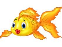 Pesce dorato sveglio del fumetto isolato su fondo bianco Immagine Stock Libera da Diritti
