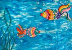 Pesce due da argilla Fotografie Stock