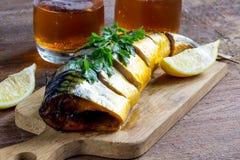 Pesce e birra affumicati Immagini Stock Libere da Diritti
