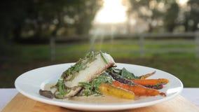 Pesce e carote sani e deliziosi stock footage
