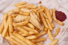 Pesce e patate fritte Fotografia Stock