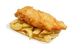 Pesce e patate fritte in vassoio Immagine Stock