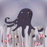 Pesce e polipo del pagliaccio in anemone Royalty Illustrazione gratis