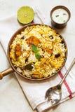Pesce e riso indiani di stile di Biryani del pesce con il masala piccante Immagini Stock