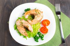 Pesce e verdure fritti Immagine Stock