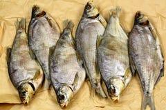 Pesce essiccato salato in carta Fotografia Stock Libera da Diritti
