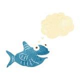 pesce felice del fumetto con la bolla di pensiero Fotografia Stock Libera da Diritti