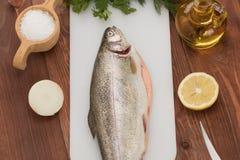 Pesce fresco della trota sulla tavola e sulle spezie Fotografie Stock