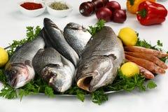 Pesce fresco e verdura sul piatto Fotografia Stock