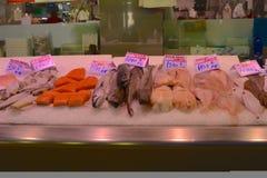 Pesce fresco nel mercato centrale, Valencia, Spagna Immagini Stock