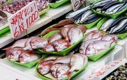 Pesce fresco nel mercato giapponese Immagini Stock