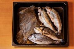 Pesce fresco in strato di cottura Immagini Stock Libere da Diritti