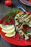 Pesce fritto con il limone fotografie stock libere da diritti