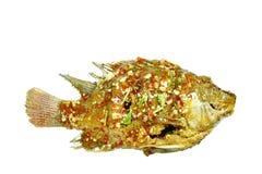 Pesce fritto nel grasso bollente del mango che condisce la salsa di peperoncino rosso dolce su fondo bianco immagine stock libera da diritti